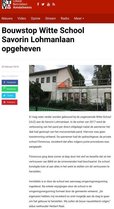 2018-20-2 RTVA: wehouder Herbert Raat over opheffen bouwstop witte school