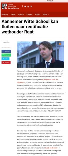 2018-1-3 RTVA: wethouder Herbert Raat over aannemer Bouwhere van de Witte School Amstelveen