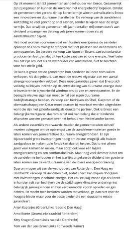 2017-6-9 Groen Links raadslid Arno Bonte roept voor de verkiezingen op Eneco niet te verkopen. Na de verkiezingen is hij wethouder in Rotterdam en verkoopt alsnog 2 van 2.