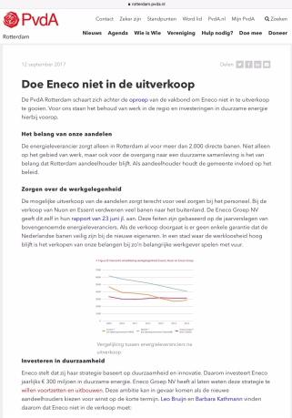 2017-12-9 Op de site van de Pvda Rotterdam geen verkoop Eneco, Na de verkiezingen is dit niet meer het geval. 1 van 2
