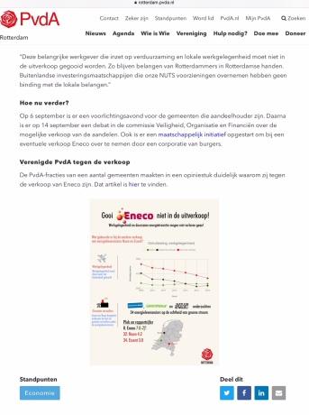 2017-12-9 Op de site van de Pvda Rotterdam geen verkoop Eneco, Na de verkiezingen is dit niet meer het geval. 2 van 2