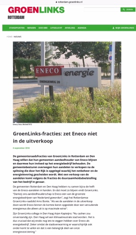 2017-4-9 Op de site van Groen Links Rotterdam en Den Haag geen verkoop Eneco, Na de verkiezingen is dit niet meer het geval.