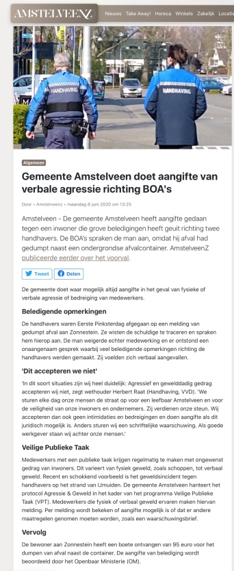 8-6-2020: AmstelveenZ; Herbert Raat over aangifte tegen personen die de mensen van handhaving intimideren