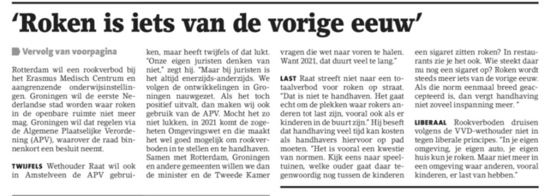 2018-8-8 Amstelveens Nieuwsblad: Herbert Raat over roken aan banden Amstelveen pagina 5