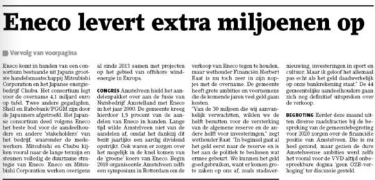 2019-25-11; Amstelveens Nieuwsblad; werhouder Herbert Raat over verkoop Eneco en de opbrengst voor Amstelveen 2 van 2