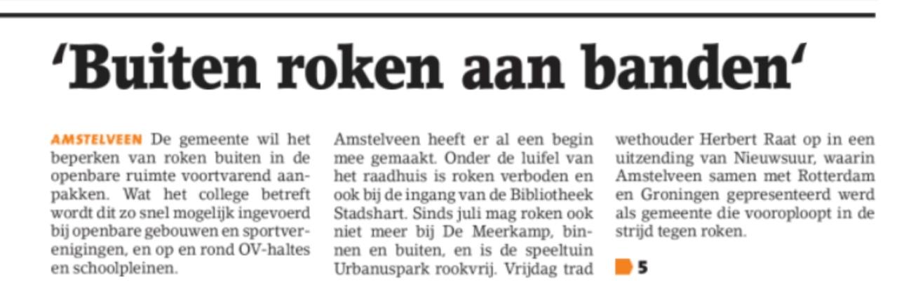 2018-8-8 Amstelveens Nieuwsblad: wethouder Herbert Raat over roken aan banden Amstelveen Voorpagina