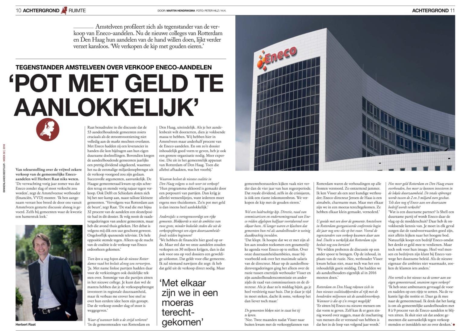 2018-10-8 Binnenlands Bestuur interview Herbert Raat over Eneco