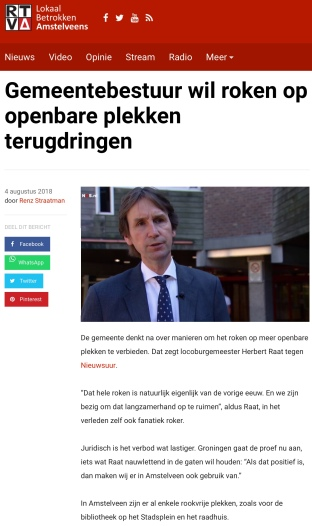 2018-4-8 RTVA journalist Rens Straatman: wethouder Herbert Raat over roken Amstelveen