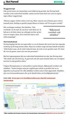 2017-13-4 Het Parool over rookvrij terras restaurant Amsterdam 2 van 2