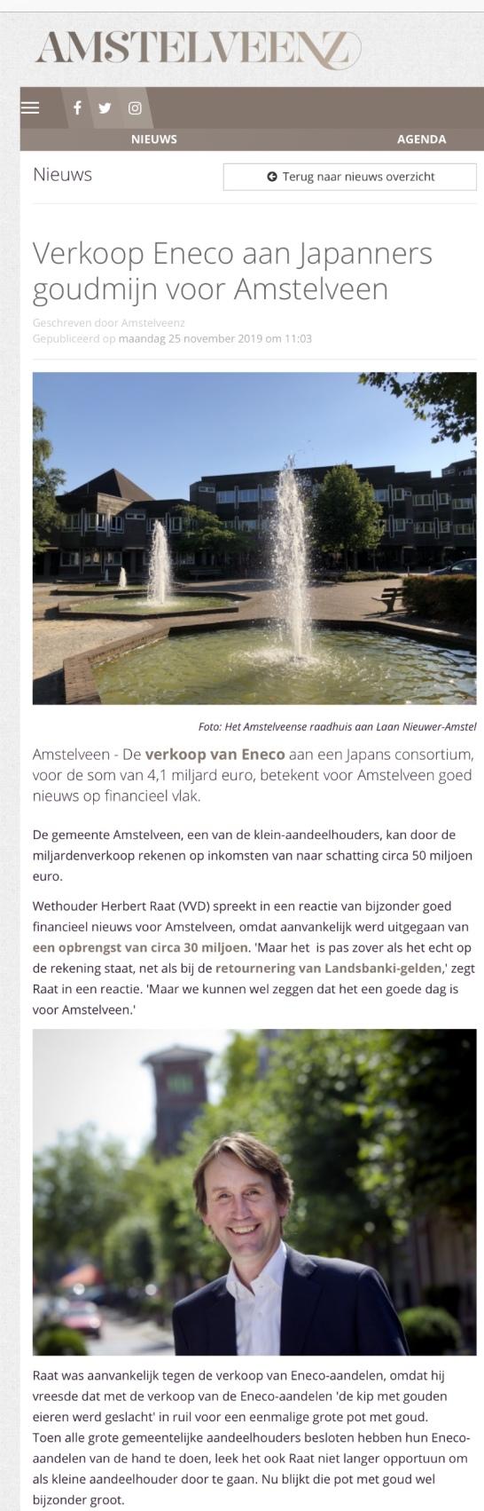 2019-25-11; Amstelveenz; werhouder Herbert Raat over verkoop Eneco en de opbrengst voor Amstelveen