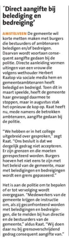 2018-5-9 Amstelveens Nieuwsblad over aangifte Herbert Raat