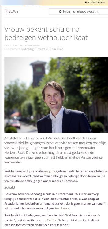2019-26-3 AmstelveenZ over uitspraak rechter van een vrouw die wethouder Herbert Raat stalkte