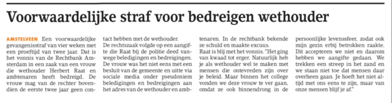 2019-3-3; Amstelveens Nieuwsblad; straf voor bedreigster Herbert Raat