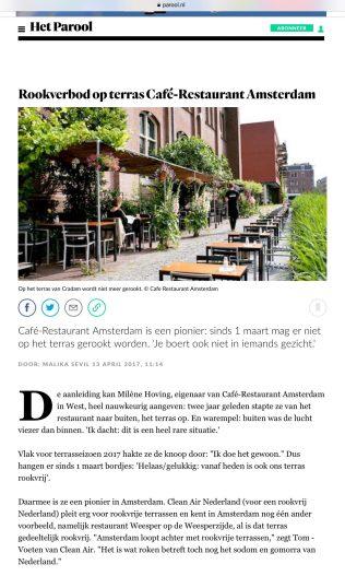 2017-13-4 Het Parool over rookvrij terras restaurant Amsterdam 1 van 2