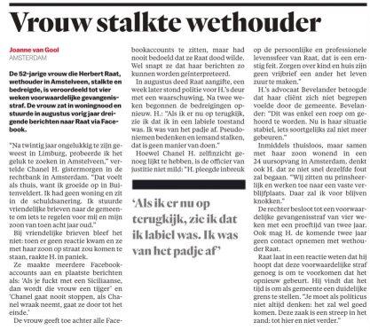 2019-27-3 Het Parool, journaliste Joanne van Gool over uitspraak rechter van een vrouw die wethouder Herbert Raat stalkte