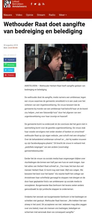 2018-30-8 RTVA over bedreiging wethouder Herbert Raat