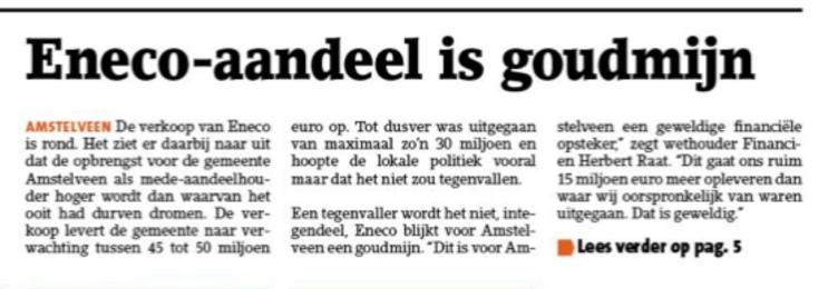 2019-25-11; Amstelveens Nieuwsblad; werhouder Herbert Raat over verkoop Eneco en de opbrengst voor Amstelveen 1 van 2