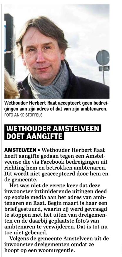 2018-31-8 De Telegraaf over aangifte wethouder Herbert Raat Amstelveen
