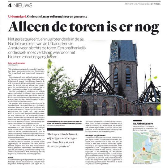17-9-2018 Het Parool: Herbert Raat over brand Urbanuskerk door Peter Van Brummelen