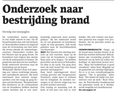 2018-19-9 Amstelveens Nieuwsblad brand Urbanuskerk vervolg voorpagina