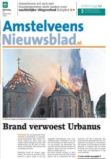2018-19-9 Amstelveens Nieuwsblad brand Urbanuskerk voorpagina