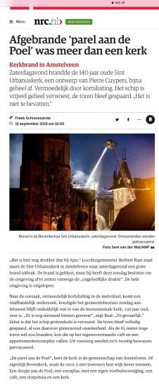 2018-16-9 NRC: Herbert Raat over brand Urbanuskerk door Freek Schravesande
