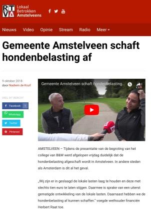 2019-9-10 RTVA Afschaffing hondenbelasting Amstelveen