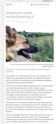 2018-5-10 Amstelveenz:Herbert Raat over afschaffing Hondebelasting Amstelveen