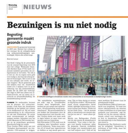 2018-10-10 Het Amstelveens Nieuwsblad: Herbert Raat over begroting Amstelveen 2019