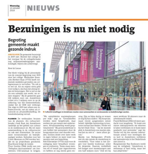 2018-10-10 Het Amstelveens Nieuwsblad over begroting Amstelveen 2019