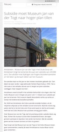 2018-15-10 Amstelveenz: Herbert Raat over subsidie museum Jan van der Togt