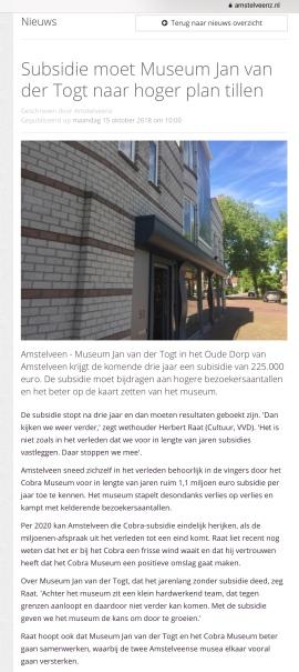 2018-15-10 Amstelveenz over subsidie museum Jan van der Togt