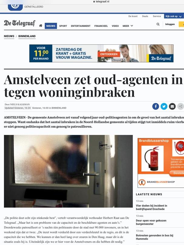 2018-13-11 De Telegraaf: wethouder Herbert Raat over aanpak inbraken Amstelveen 1 van 2