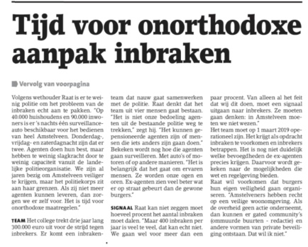 2018-14-11 Amstelveens Nieuwsblad: Herbert Raat over aanpak inbraken Amstelveen voorpagina aanpak inbraken 1 van 2