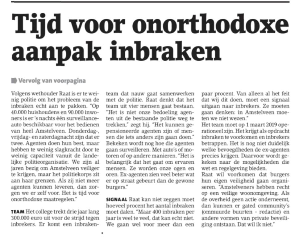 2018-14-11 Amstelveens Nieuwsblad voorpagina aanpak inbraken 1 van 2
