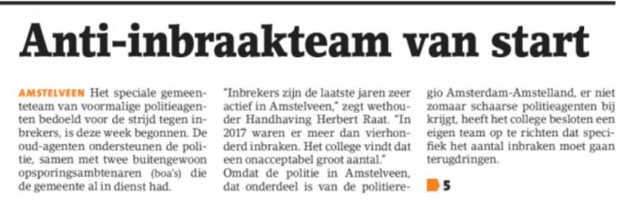 2019-17-4 Het Amstelveens Nieuwsblad wethouder Herbert Raat en burgemeester Bas Eenhoorn over inbrakenteam 1 van 2
