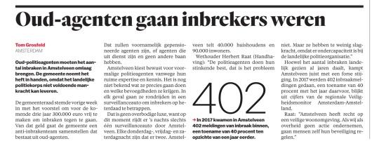2018-13-11 het Parool: wethouder Herbert Raat over inzet agenten Amstelveen