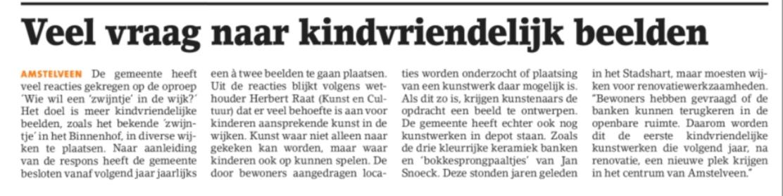 2018-5-12 Amstelveens Nieuwsblad; Herbert Raat over kunst in de wijk