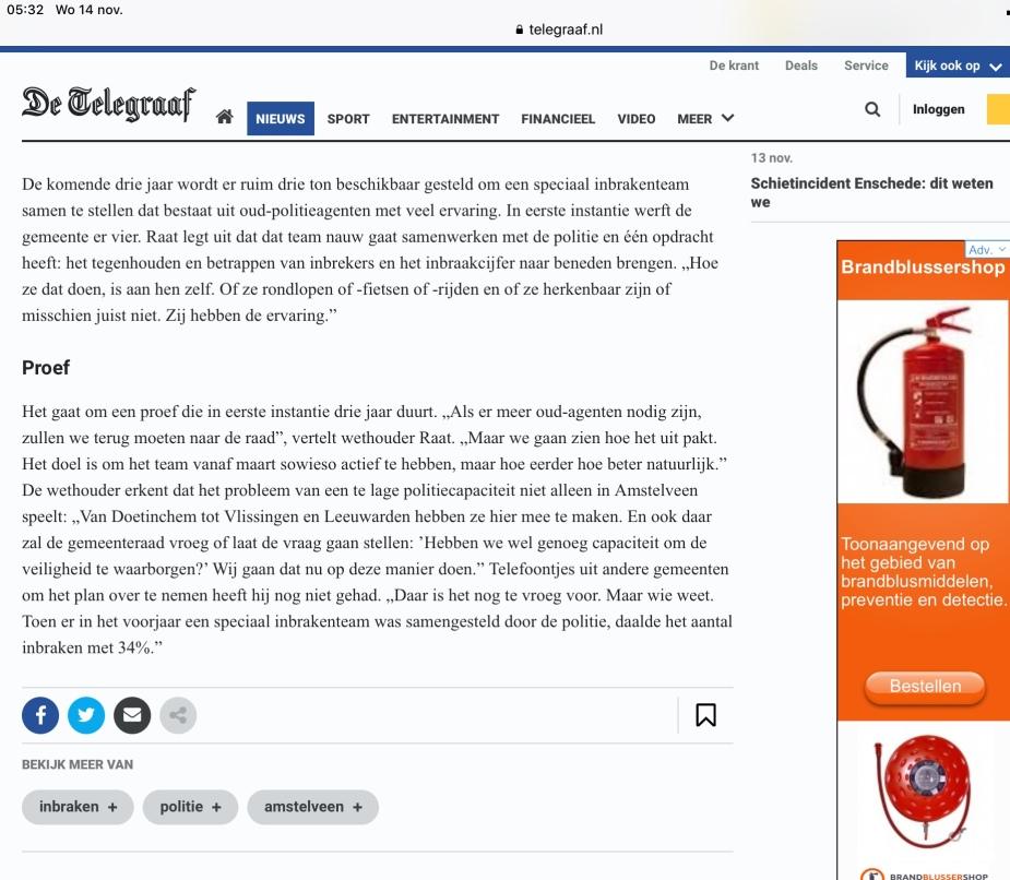 2018-13-11 De Telegraaf: wethouder Herbert Raat over aanpak inbraken Amstelveen 2 van 2