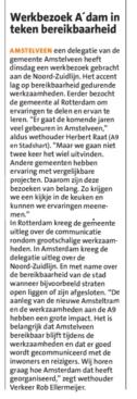 2019-6-2 het Amstelveenz Nieuwsblad; Herbert Raat over bezoek aan de Noord-Zuidlijn Amsterdam