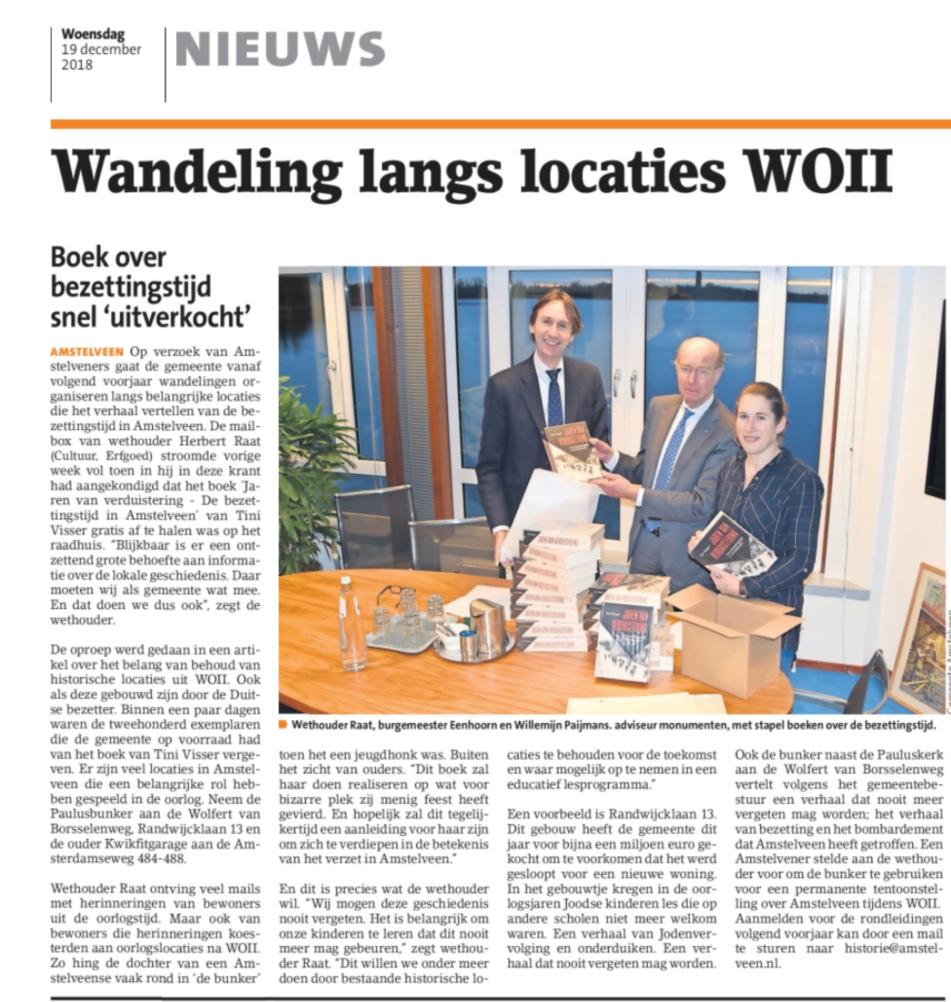 2018-19-12 Amstelveens Nieuwsblad: burgemeester Bas Eenhoorn en wethouder Herbert Raat over wandeling langs wo2 locaties