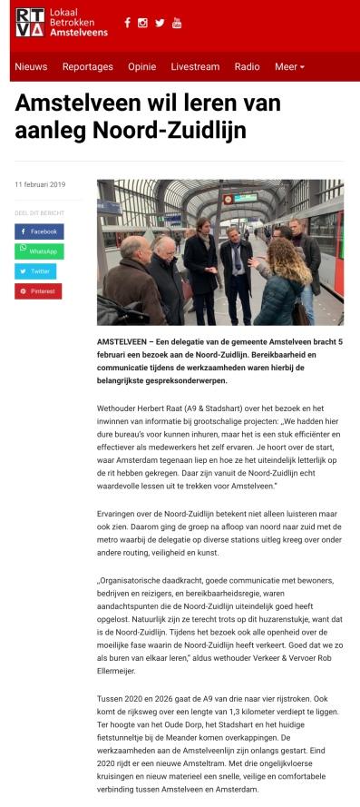 2019-11-2 RTVA: bezoek wethouders Herbert Raat en Rob Ellermeijer aan de Noord-Zuidlijn