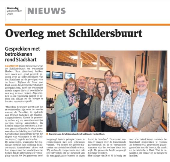2018-28-11 Het Amstelveens Nieuwsblad over gesprek Schildersbuurt met Herbert Raat