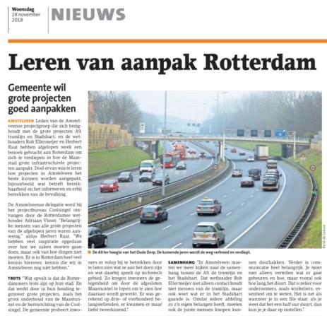 2018-28-11 Amstelveens Nieuwsblad: wethouder herbert Raat over bezoek Amstelveen aan Rotterdam