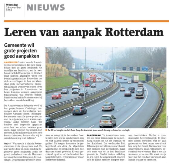 2018-28-11 Amstelveens Nieuwsblad over bezoek Amstelveen aan Rotterdam