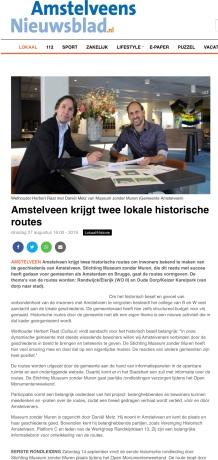 2019-27-8: amstelveens Nieuwsblad: Herbert Raat en Daniel Metz aankondiging historische routes Amstelveen