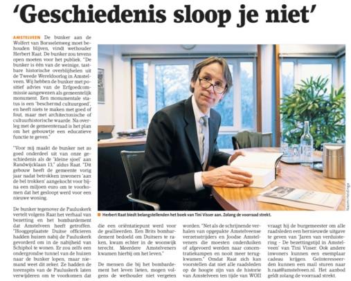 2018-12-12 Amstelveens Nieuwsblad over geschiedenis Amstelveen blog Herbert Raat