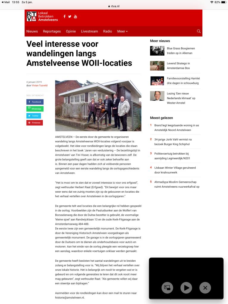 2019-RTVA: wethouder Herbert raat over de grote belangstelling vvor de Amstelveense WO2 geschiedenis