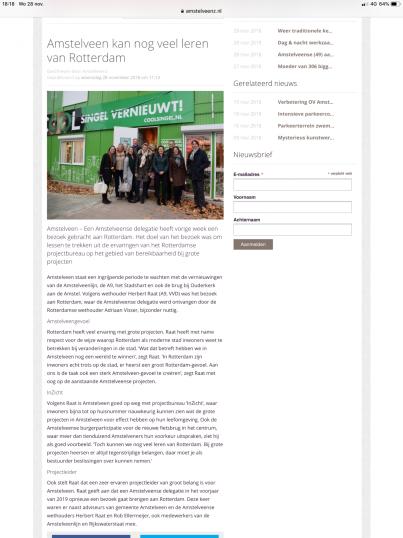2018-28-11 AmstelveenZ over bezoek Amstelveen aan Rotterdam