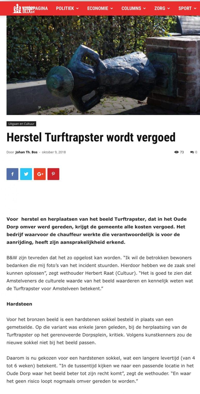 2018-9-10 AmstelveenBlog.nl: Herbert Raat over herstel Turftrapster